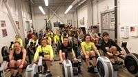 Indoor training on the rowing machines at the boathouse