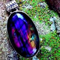 Purple Flash Spectrolite Labradorite Pendant in Sterling Silver