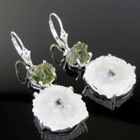 Moldavite, Quartz Slice Earrings in Sterling Silver