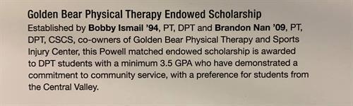 Golden Bear University of the Pacific Endowed Scholarship