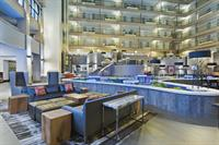 The Embassy Suites in Downey features a large indoor atrium