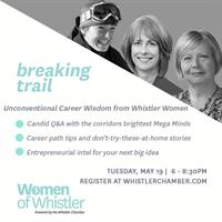 Get intimate and interactive with 3 brilliant, Whistler women! Danielle Kristmanson, Mayor Nancy Wilhelm-Morden, and Maureen