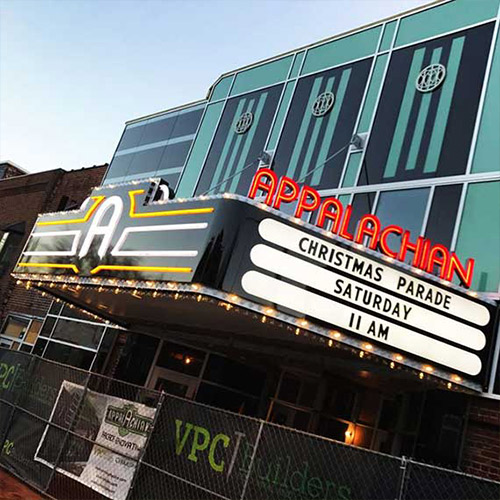 Casco replace the Appalachian Theater marquee, replicating the appearance of the historic theater with efficient LED lighting.