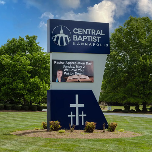 Monument sign for Central Baptist in Kannapolis with an electronic message center.
