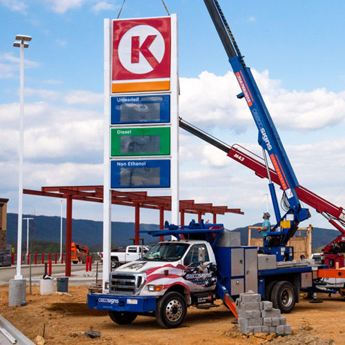 Casco crew installing a gas station pricer for Circle K.
