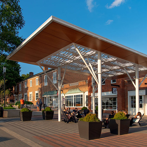 Shade canopy built and installed by Casco Signs on Kannapolis' new downtown streetscape.