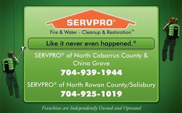 SERVPRO® of North Cabarrus & China Grove SERVPRO® of North Rowan County/Salisbury