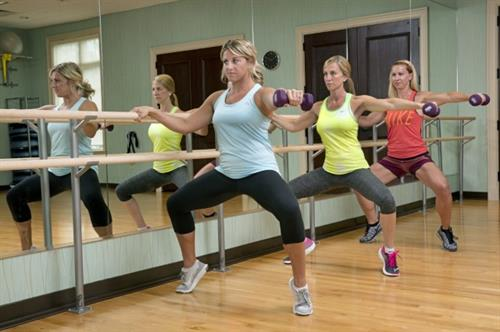 We offer a variety of group fitness classes including Barre, TRX, and Yoga to name a few!