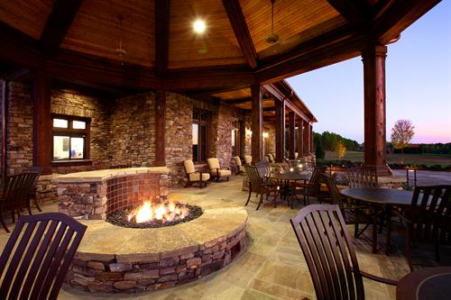 The fire pit at the Golf Cottage is another place to relax on those warm summer evenings.
