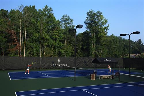 Tennis enthusiasts can enjoy use of 6 lighted tennis courts, private instuction, group clinics and league play.