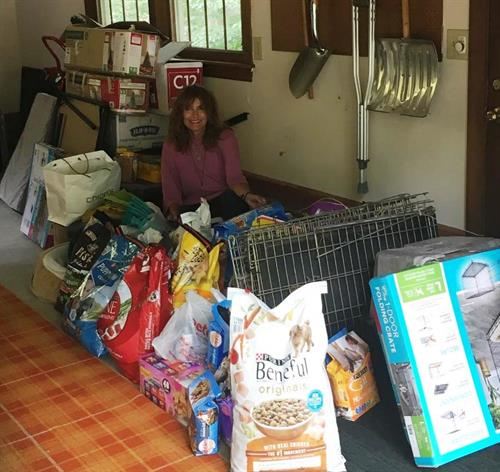 Team member, Sharon collected pet relief supplies for those affected by the hurricanes in Texas and Florida in 2017.