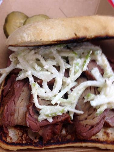 The Raven - Smoked Beef brisket sandwich with apple-horseradish slaw