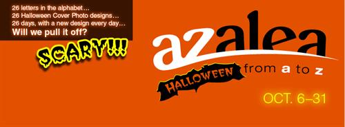 "Special themed Facebook cover photo for Azalea Graphics (my previous employer), for our ""26 Days of Halloween"" campaign."