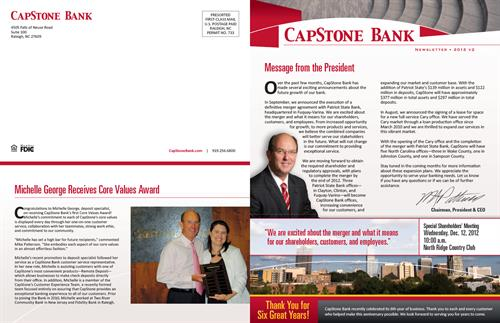 Newsletter front/back cover spread for CapStone Bank (2012 v2)