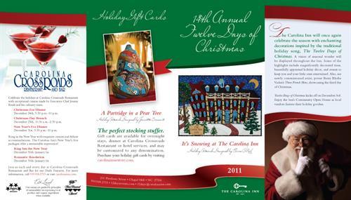 Christmas event brochure (exterior spread) for The Carolina Inn