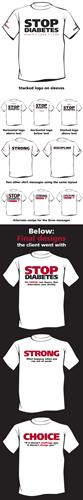 Diabetes Run/Walk T-shirt design mockups for Choice Personal Fitness