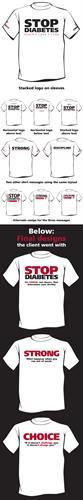 Diabetes Run/Walk T-shirt design mockups for Choice Personal Fitness