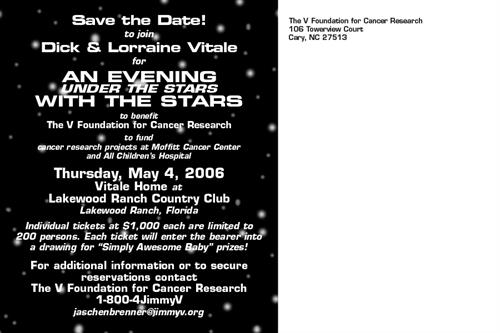 Back of postcard for Dick Vitale's Evening with the Stars event, benefiting The V Foundation for Cancer Research