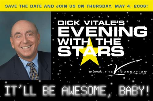 Front of postcard for Dick Vitale's Evening with the Stars event, benefiting The V Foundation for Cancer Research