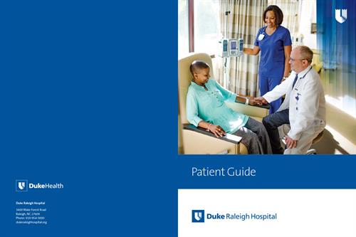 Duke Raleigh Hospital Patient Guide front/back cover spread. This is a single-pocket folder with 8-page stitched insert. Designed utilizing existing Duke Health brand guidelines.