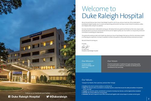 Duke Raleigh Hospital Patient Guide inside front cover/page 2 spread.