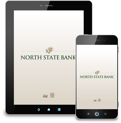 Mobile banking app launch page design for North State Bank (horizontal & vertical orientations for iOS & Android devices)