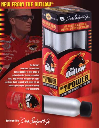 "Front of sales sheet for Pennzoil-Quaker State's ""The Outlaw"" series of fuel additives, featuring Dale Earnhardt, Jr."