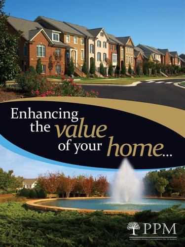 Front cover of a pocket folder/brochure design for Professional Property Management, Inc. of Raleigh. 8 pages. 4-color process + spot metallic gold + spot gloss varnish. Very nice looking in-person.