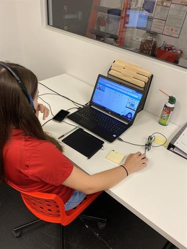 Aliya working with students online!