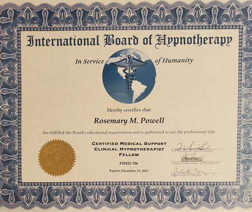 Fellow with International Board of Hypnotherapy