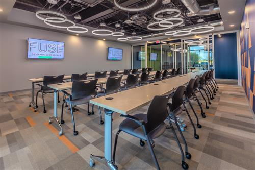 Rally Room on first floor. Seats up to 42 in a classroom style setting. Seats 55 in theatre stye. Available for half day or full day rental.