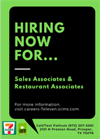 Hiring now for Sales and Restaurant Associates