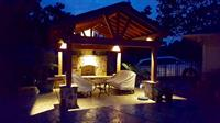 Pavilions, Shade Arbors, Landscape Lighting, Stamped Concrete, Outdoor Fireplace
