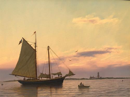 """Fishermen Off Monomoy Light, Chatham"" Oil by Gallery Antonia Artist William R. Davis."