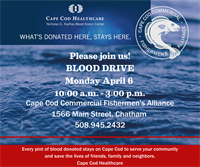 Blood Drive  - Cape Cod Fishermen's Alliance Office - April 6, 2020