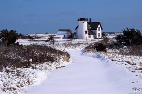 Stage Harbor Light in snow