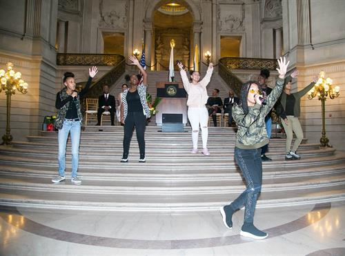 Project Level performing at City Hall Kick off 2/1/19