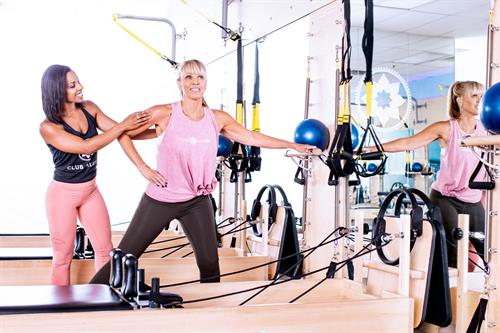 In addition to the Reformer you will get to workout using TriggerPoint, TRX® springboard, EXO-chair, weights, stretch bands and BOSU ball