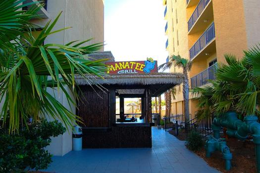 We also have a poolside tiki-bar known as the Manatee Grill.