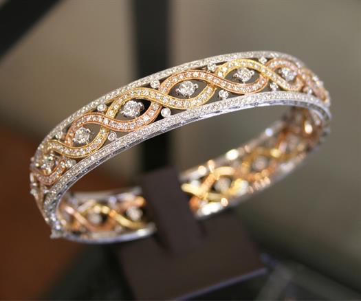 Tri-color Diamond Bangle