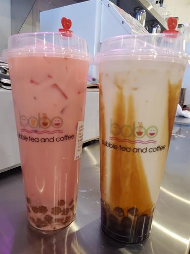 Strawberry and Brown Sugar Milk Teas