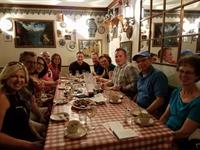 "Guests ""Prost"" at Winzer Stube German restaurant."