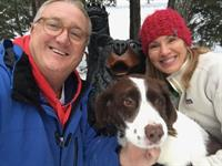 Dr Edward Hagen and his wife Denise (health coach) and Charli (dog)