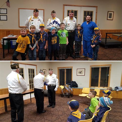 VFW Post members with Cub Scout Troop 148