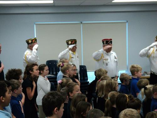 VFW members at Mary's Middle School, New Richmond