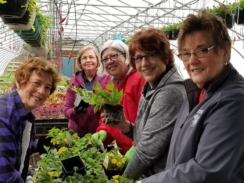 Planting Hanging Baskets for City of Hudson