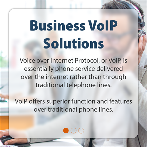 Business VoIP Solutions | Voice over Internet Protocol, or VoIP, is essentially phone service delivered over the internet rather than through traditional telephone lines. VoIP offers superior function and features over traditional phone lines.