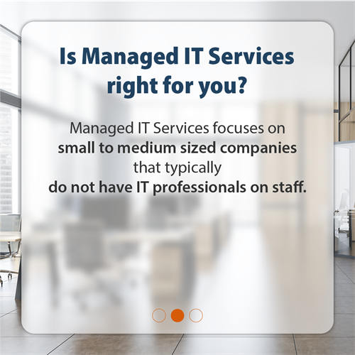 Is Managed IT Services right for you? Managed IT Services focuses on Small to Medium Sized Companies that typically do not have IT professionals on staff.