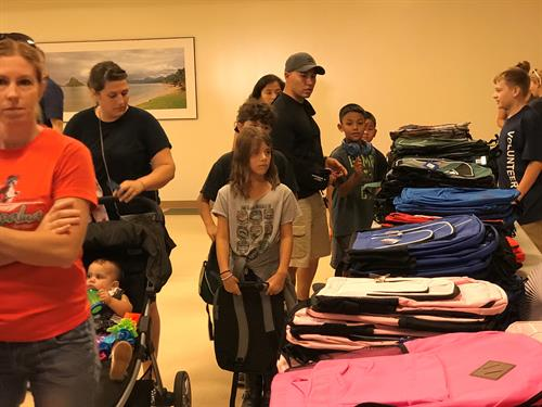 Back-to-School Brigade 2018 on Hickam AFB - Operation Homefront was able to serve 1000 military children in Hawaii in 2018 during the BTSB by providing them with backpacks and school supplies for the upcoming 2018-19 school year.
