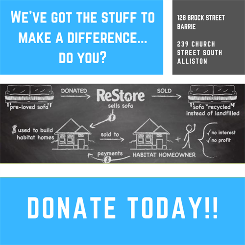 Two ReStores for you to donate or shop: Barrie and Alliston